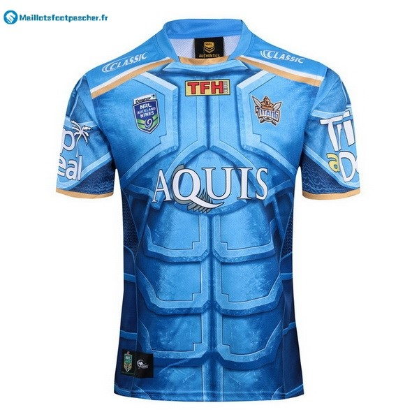 Maillot Rugby Pas Cher Gold Coast Titans Classic Auckland 9's 2017 2018 Bleu