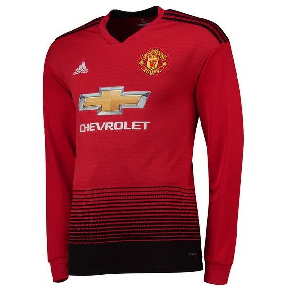 Maillot Foot Pas Cher Manchester United Domicile ML 2018 2019 Rouge