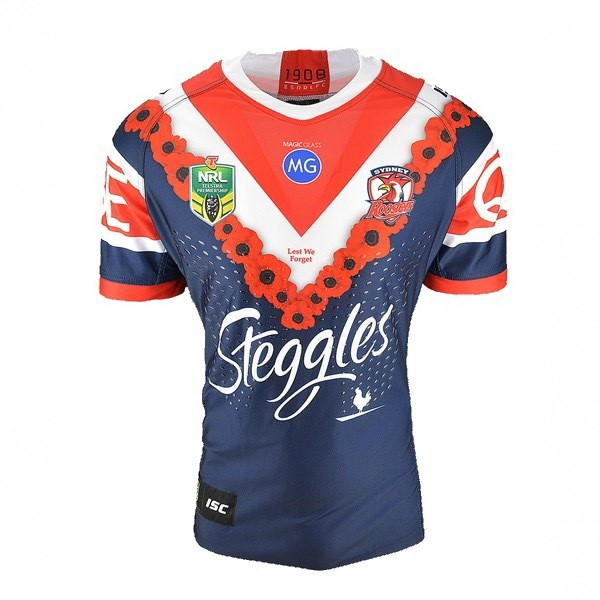 Maillot Foot Pas Cher Sydney Roosters Anzac 2018 Bleu