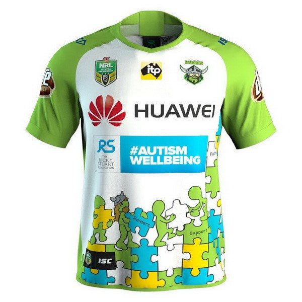 Maillot Foot Pas Cher Canberra Raiders 2018 Blanc Vert