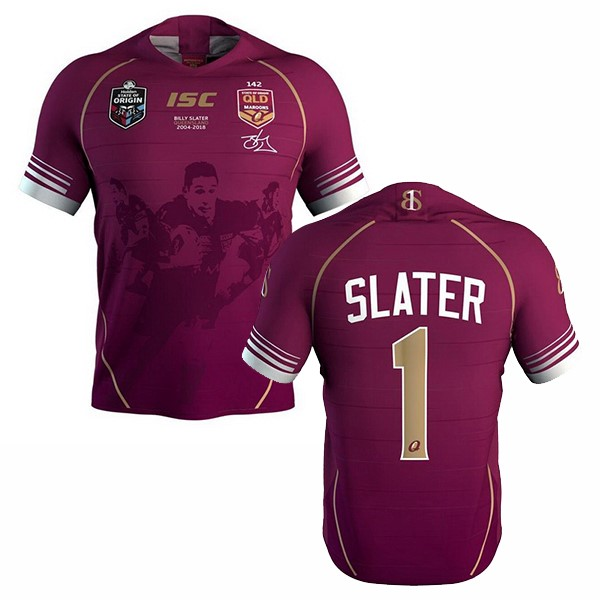 Maillot Foot Pas Cher QLD Maroons Slater 2018 Rouge