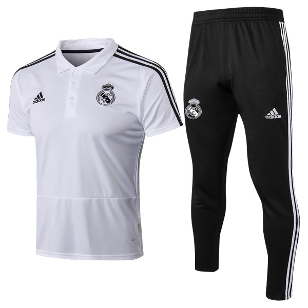 Polo Foot Pas Cher Real Madrid Ensemble Complet 2018 2019 Blanc