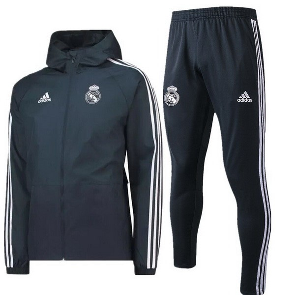 Coupe Vent Foot Pas Cher Real Madrid Ensemble Complet 2018 2019 Gris Marine