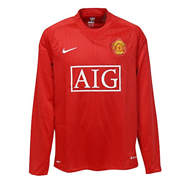 Maillot Foot Pas Cher Manchester United Domicile ML Retro 2007 2008 Rouge