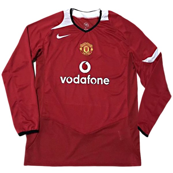 Maillot Foot Pas Cher Manchester United Domicile ML Retro 2005/06 Rouge