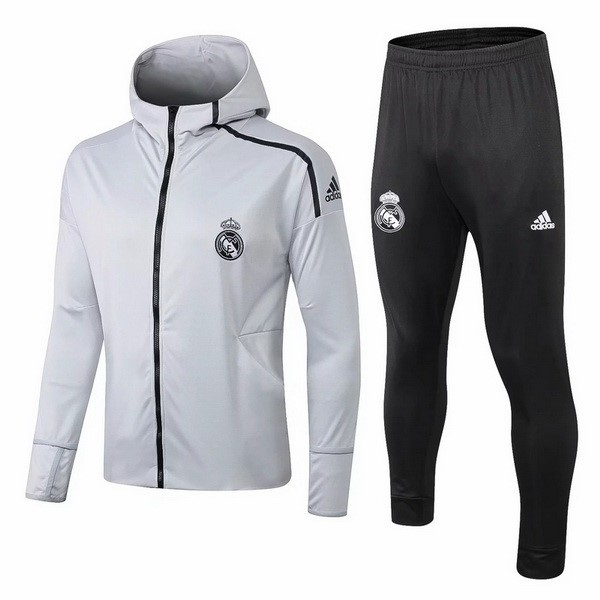 Survetement Foot Pas Cher Real Madrid 2018 2019 Gris Noir