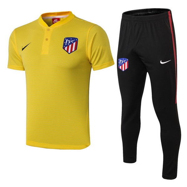 Polo Foot Pas Cher Ensemble Complet Atlético de Madrid 2018 2019 Jaune