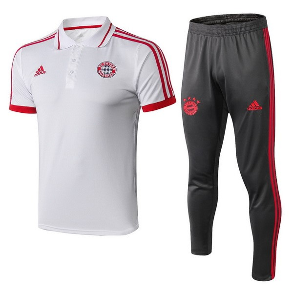 Polo Foot Pas Cher Ensemble Complet Bayern Munich 2018 2019 Blanc Rouge