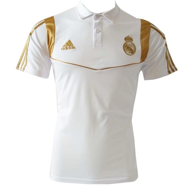 Polo Foot Pas Cher Real Madrid 2019 2020 Blanc Or