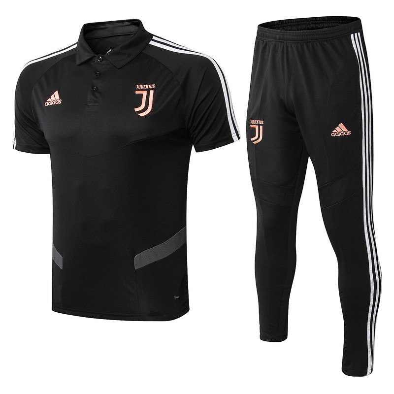 Polo Foot Pas Cher Juventus Ensemble Complet 2019 2020 Noir Orange