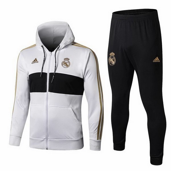 Survetement Foot Pas Cher Real Madrid 2019 2020 Blanc Jaune Negro