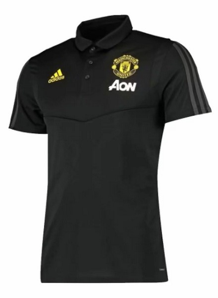 Polo Foot Pas Cher Manchester United 2019 2020 Negro Jaune