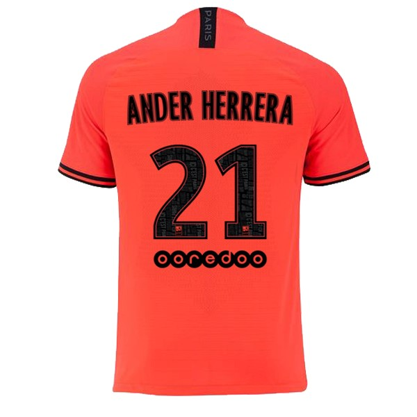 JORDAN Maillot Foot Pas Cher Paris Saint Germain NO.21 Ander Herrera Exterieur 2019 2020 Orange
