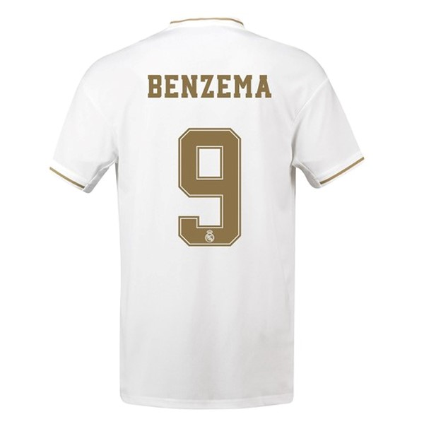 Maillot Foot Pas Cher Real Madrid NO.9 Benzema Domicile 2019 2020 Blanc