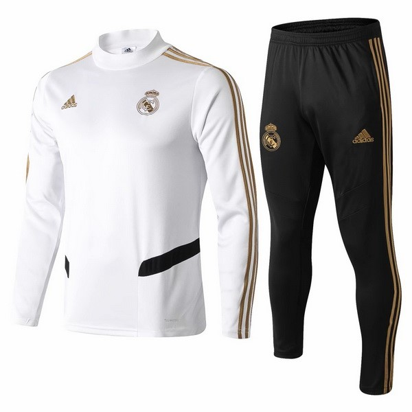 Survetement Foot Pas Cher Real Madrid 2019 2020 Blanc Noir Jaune