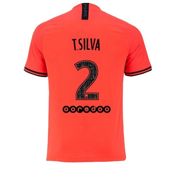 JORDAN Maillot Foot Pas Cher Paris Saint Germain NO.2 T.Silva Exterieur 2019 2020 Orange