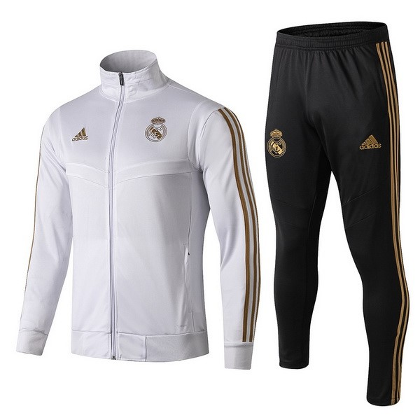 Survetement Foot Pas Cher Enfant Real Madrid 2019 2020 Blanc Jaune