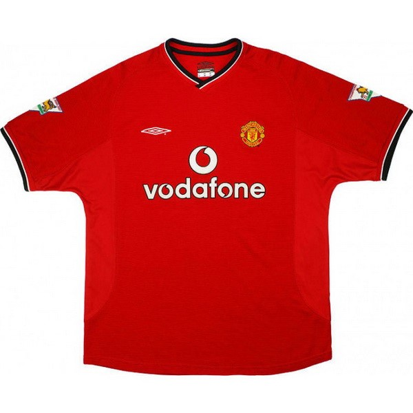 Maillot Foot Pas Cher Manchester United Domicile Retro 2000 2002 Rouge