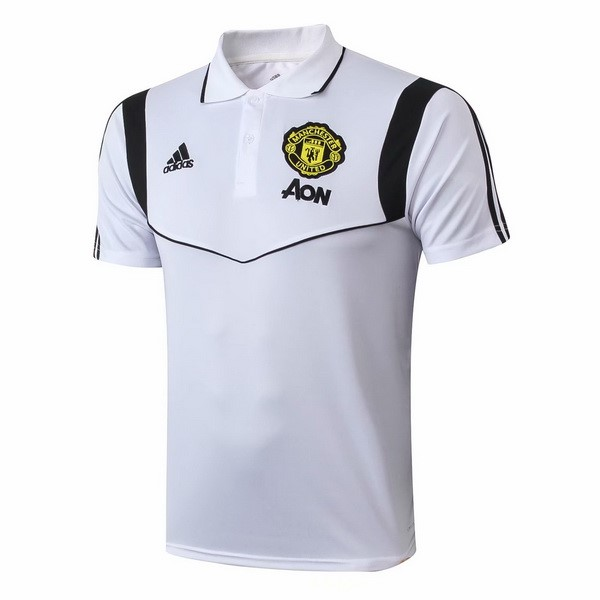 Polo Foot Pas Cher Manchester United 2019 2020 Blanc Noir