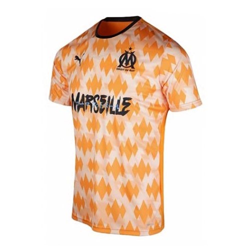 Thailande Maillot Foot Pas Cher Marseille Influence Orange White