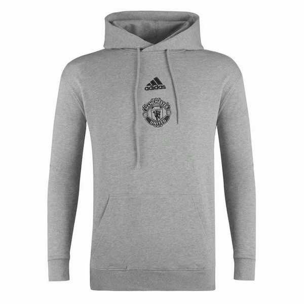 Sweat Shirt Capuche Manchester United 2020 2021 Gris