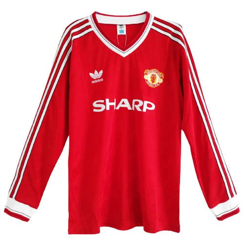 Maillot Foot Pas Cher Manchester United Domicile ML Retro 1986 Rouge
