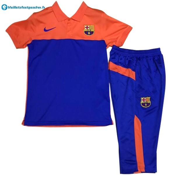 Polo Foot Pas Cher Barcelona Ensemble Complet 2017 2018 Orange Bleu