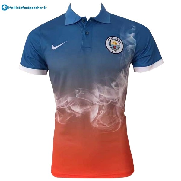 Polo Foot Pas Cher Manchester City 2017 2018 Bleu Orange