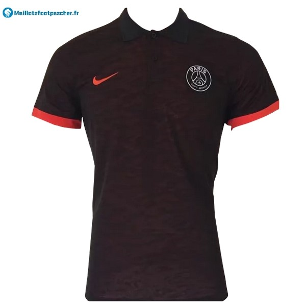 Polo Foot Pas Cher Paris Saint Germain 2017 2018 Noir Orange