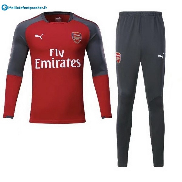 Survetement Foot Pas Cher Arsenal 2017 2018 Rouge Gris Marine