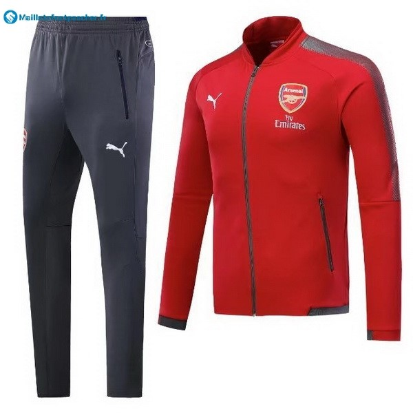 Survetement Foot Pas Cher Arsenal 2017 2018 Rouge Gris